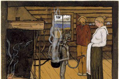 """Piru tulee apuun, mutta vaatii kovan hinnan: """"Kun saunan ovi aukeaa, on siellä isännän verta tippuva nahka kynnet ja hiukset paikoillaan"""" – näin kertovat suomalaisen kansanperinteen tarinat"""