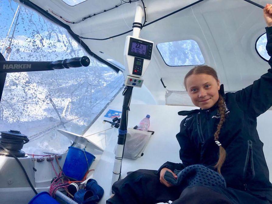 Greta Thunberg matkasi Atlantin yli kilpapurjehdusveneessä.