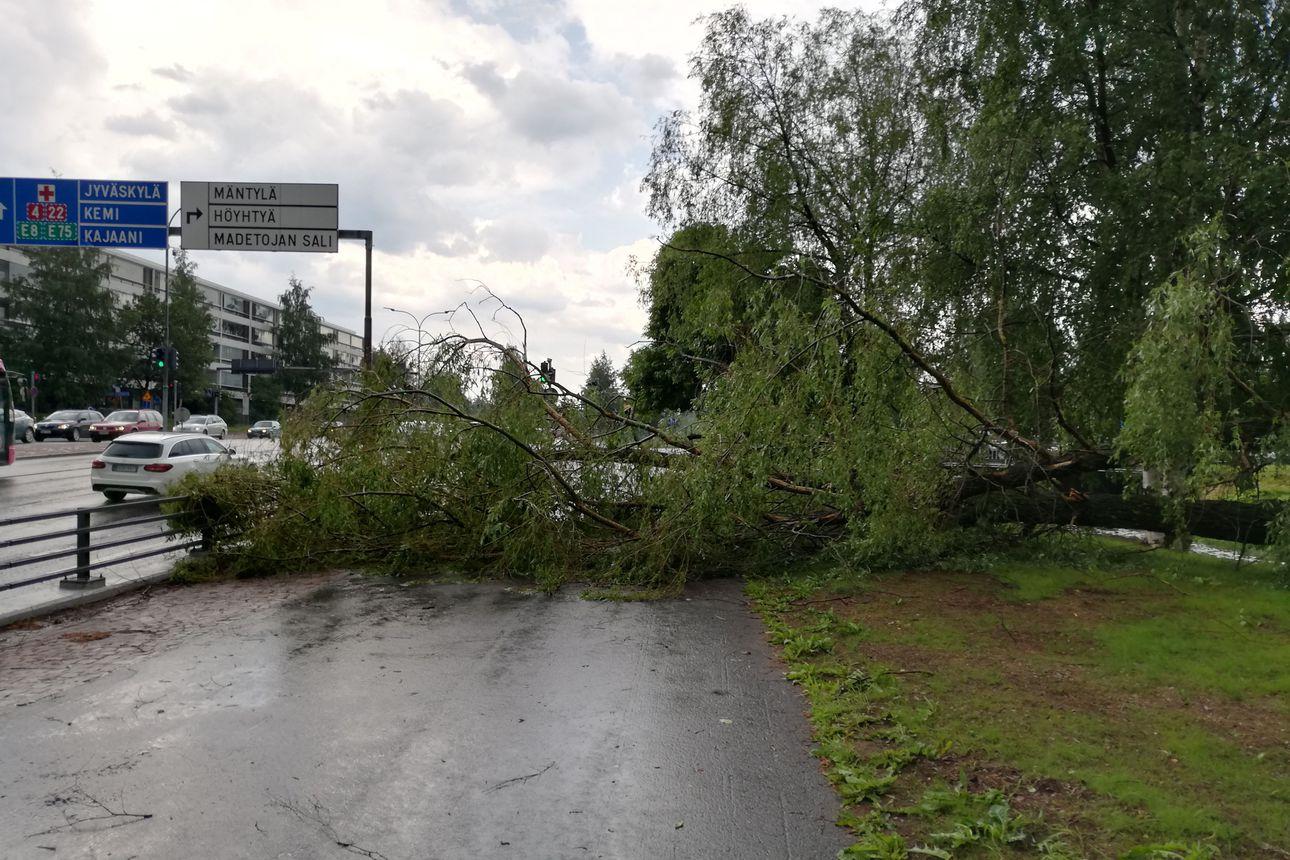 Raju ukkoskuuro pyyhkäisi Oulun yli – keskustassa kadut tulvivat ja puut katkeilivat, katso kuvat