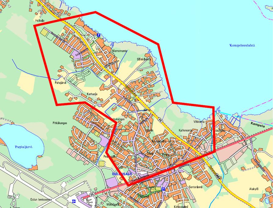 Juomavesi on keitettävä karttaan merkityllä alueella.