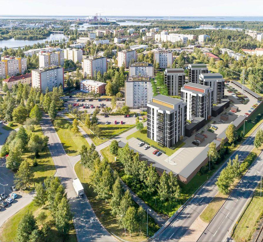 Uudet talot ovat Tuiralle tyypilliseen tyyliin yhden rappukäytävän ympärille rakentuvia tornimaisia pistetaloja.