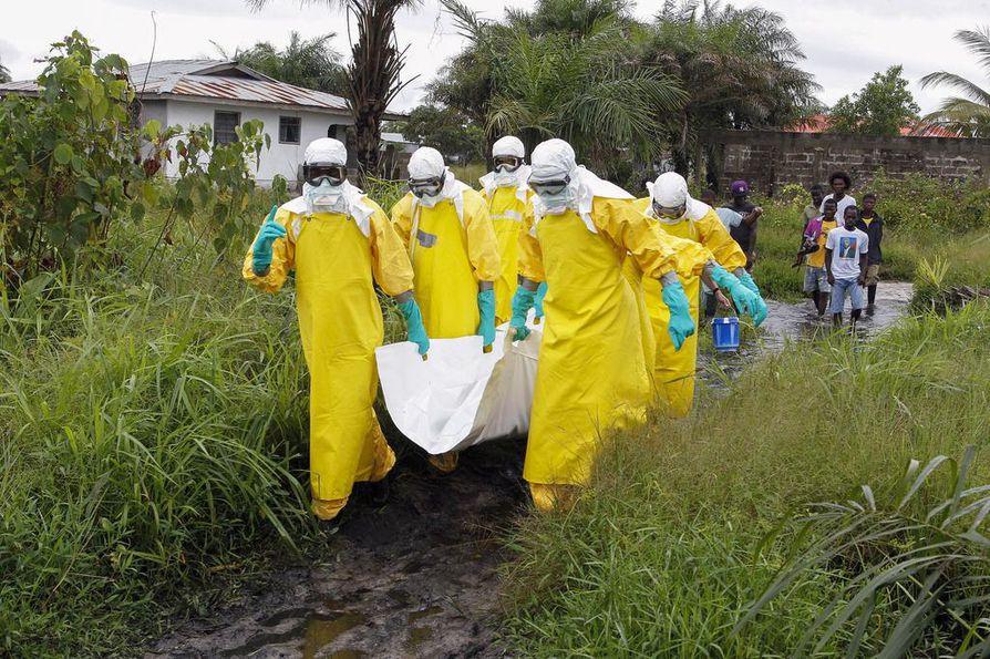 Ebolaan kuolleeksi epäillyn ihmisen ruumista kannettiin pois Liberian pääkaupungin Monrovian liepeillä syyskuussa 2014. Nyt tauti näyttää levinneen miljoonan asukkaan kaupunkiin Kongon demokraattisessa tasavallassa.