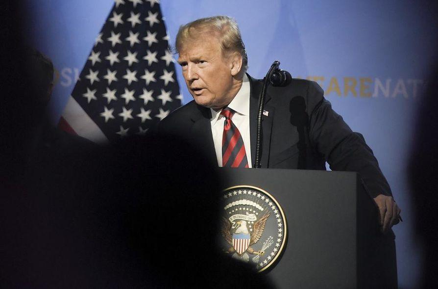 Yhdysvaltojen presidentti Donald Trump piti tiedotustilaisuuden Brysselissä Nato-kokouksen jälkeen.