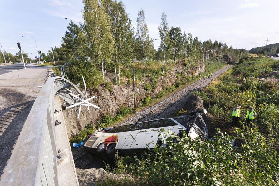 L‰nnen Media: Liikenneonettomuus Kuopiossa. Bussin jarrut pettiv‰t ja bussi suistui sillalta rautatielle samalla tˆrm‰ten henkilˆautoihin.