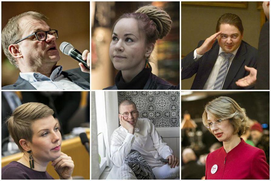 Nämä kaikki nähdään myös seuraavassa eduskunnassa. Ylhäällä Juha Siplä, Hanna Sarkkinen ja Ville Vähämäki. Alhaalla Jenni Pitko, Sebastian Tynkkynen ja Tytti Tuppurainen.