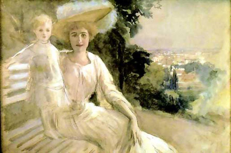 Glory ja Aino St.Cloudin puistossa . Edelfelt maalasi tämän vuonna 1904 mutta teos jäi signeeraamatta, kun taiteilija kuoli.