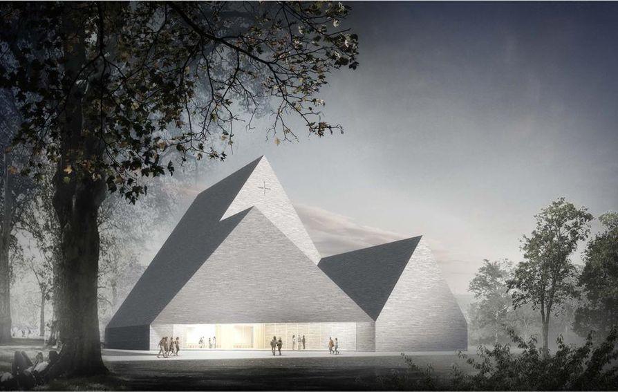 Trinitas-niminen ehdotus valittiin arkkitehtuurikilpailussa Ylivieskan uuden kirkon pohjaksi marraskuussa 2017. Kirkon kokoa on jouduttu jo pienentämään.