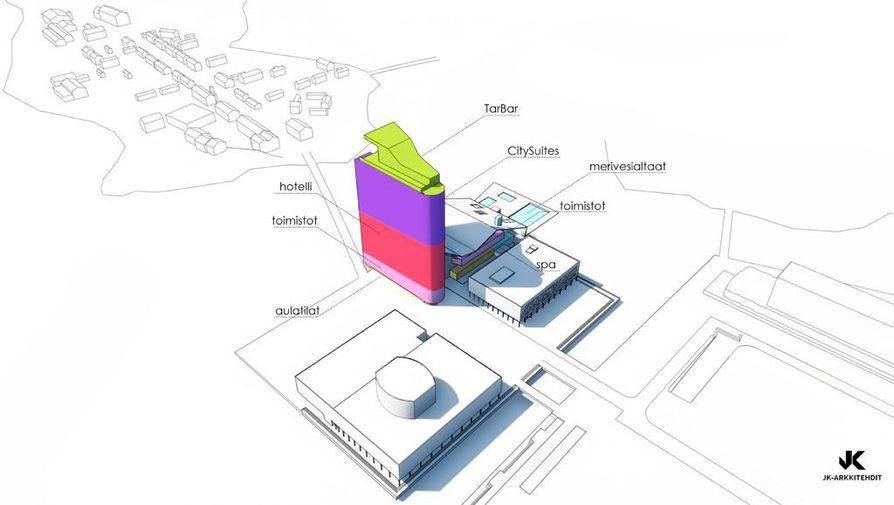 Terwa Toweriin on suunniteltu muun muassa asuntoja, hotelli ja toimistoja.
